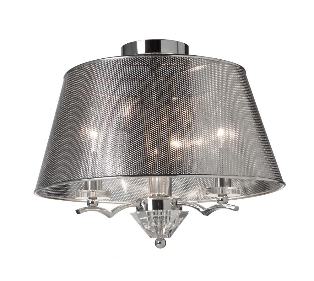 three light chrome mesh metal shade drum shade semi flush mount. Black Bedroom Furniture Sets. Home Design Ideas