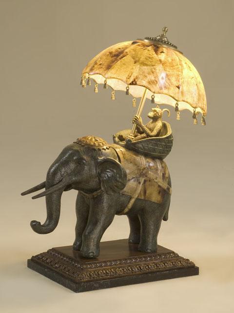 decorative elephant lamp tiger penshell accents umbrella. Black Bedroom Furniture Sets. Home Design Ideas