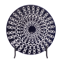 Howard Elliott 61014 - Navy Blue and White Textured Ceramic Charger with Black Iron Stand