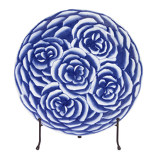 Howard Elliott 61023 - Blue and White Abstract Rose Ceramic Charger with Stand