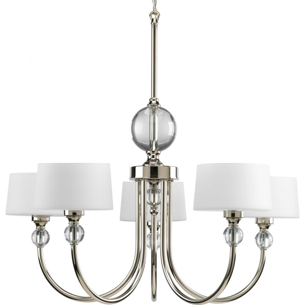 five light polished nickel opal etched glass drum shade chandelier