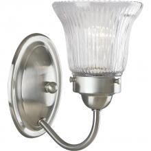 Progress P3287-09 - One Light Brushed Nickel Clear Prismatic Glass Bathroom Sconce