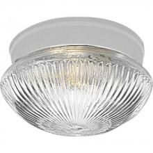 Progress P3405-30 - One Light White Clear Prismatic Glass Mushroom Flush Mount