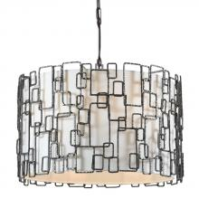Crystorama 326-RS - Crystorama Lattice 6 Light Raw Steel Chandelier