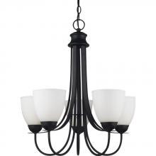 Sea Gull 31271BLE-839 - Fluorescent Uptown Five Light Chandelier in Blacksmith with Satin Etched Glass
