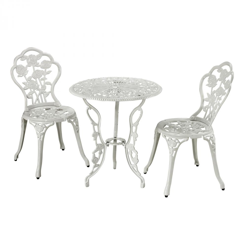 Outdoor Bistro Set In White