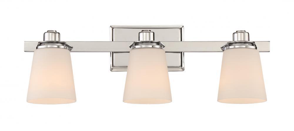 Bathroom Light Fixtures Chrome rival bath fixture with 3 lights in polished chrome : v13-rvl8603c