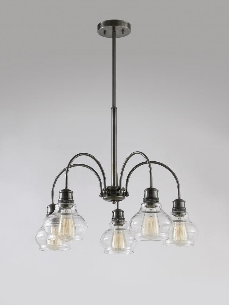 Schoolhouse Chandelier 5Lt Clear Glass - Schoolhouse Chandelier 5Lt Clear Glass : V19-48100CLP Lighting