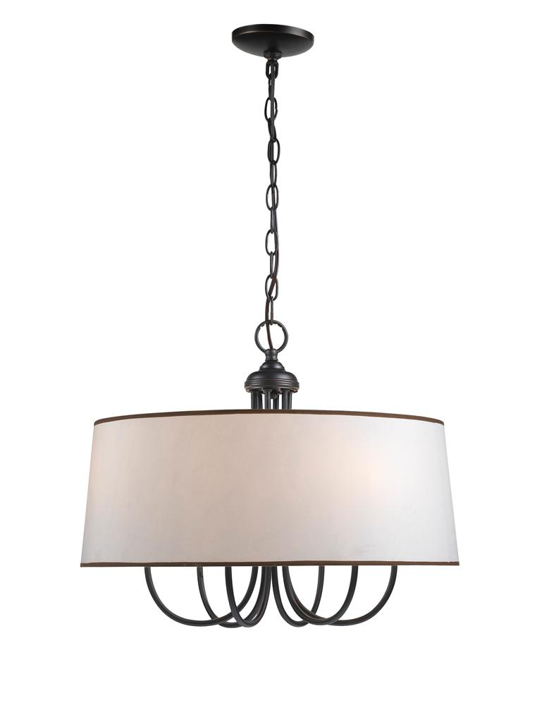 six light bronze drum shade chandelier wi133629 lighting emporium