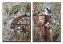 Uttermost 34226 - Uttermost Birds In A Cage Canvas Art Set/2