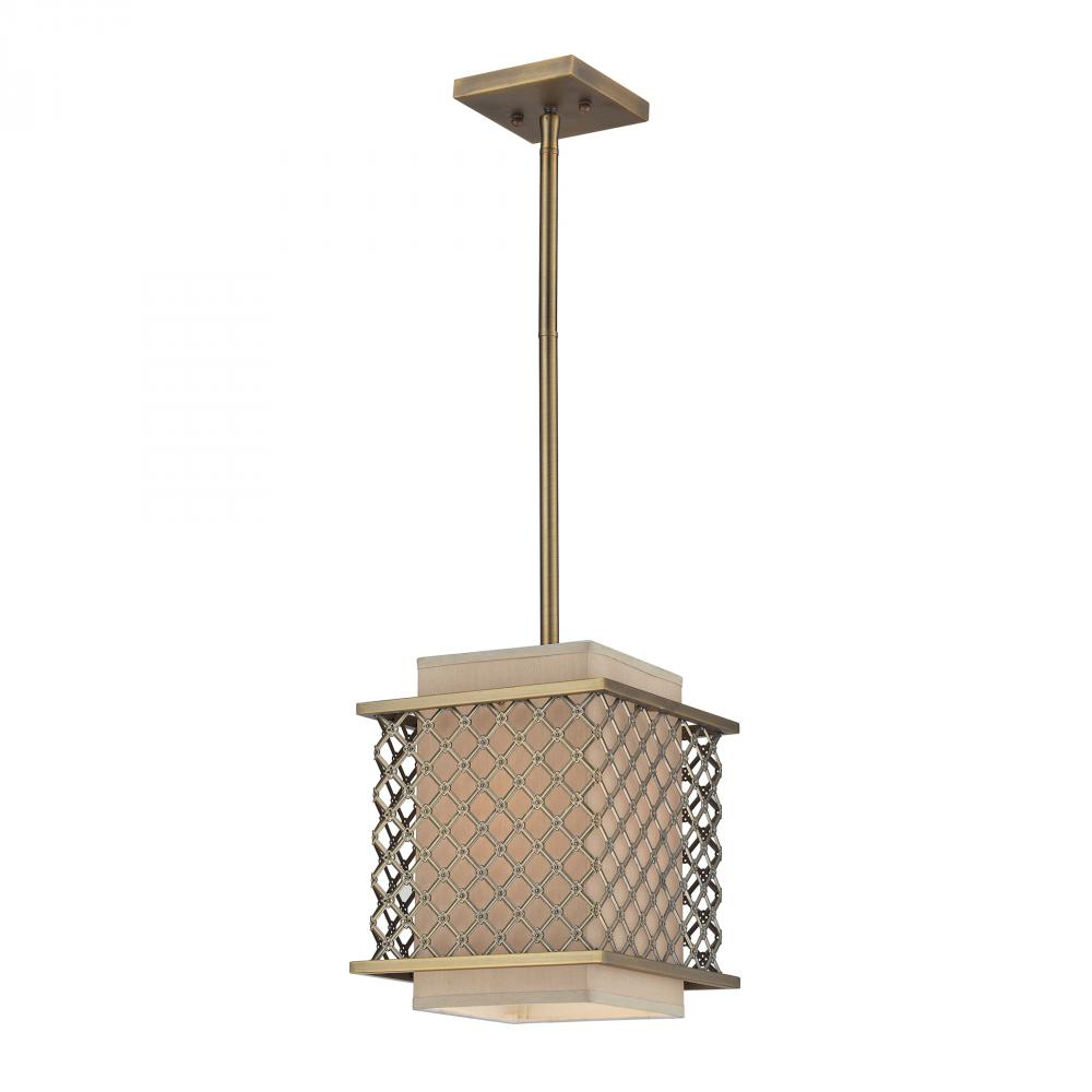 One Light Brushed Antique Brass Drum Shade Pendant