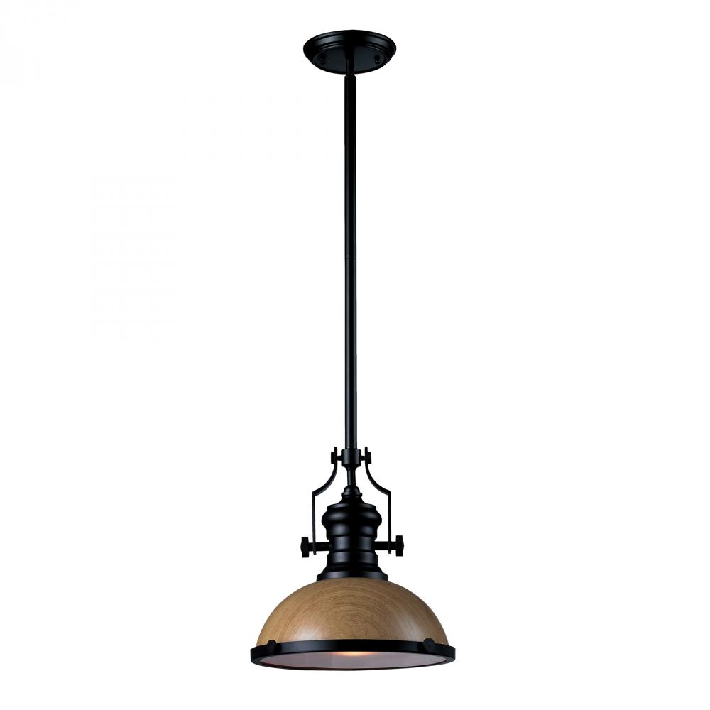 One Light Oiled Bronze Medium Oak Shade Down Pendant