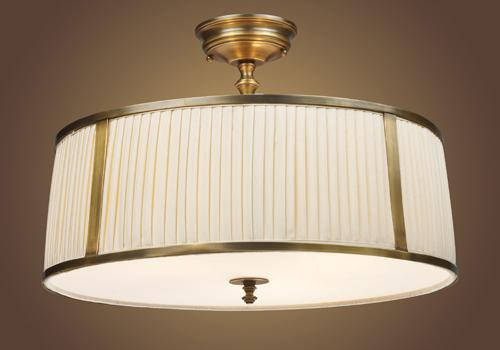 Three Light Pleated Shade Vintage Brass Patina Drum Shade Semi