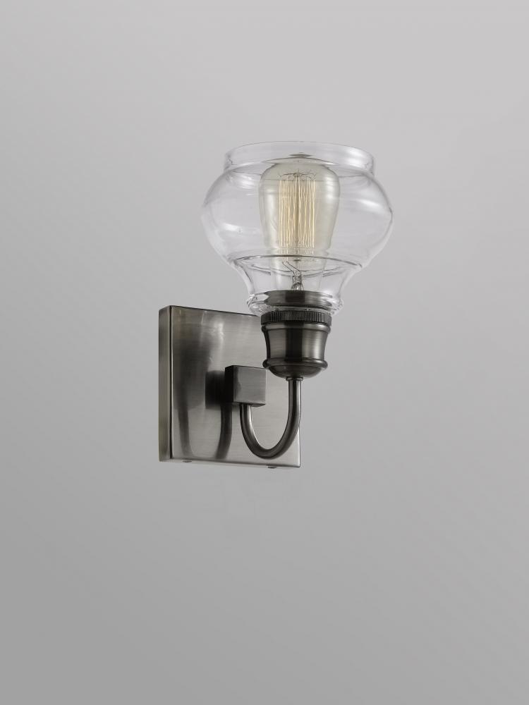 Schoolhouse Wall Sconce 1lt Clear Glass V19 48105clp Lighting