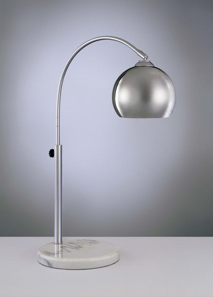 One Light Chrome With White Marble Base Table Lamp P043 077
